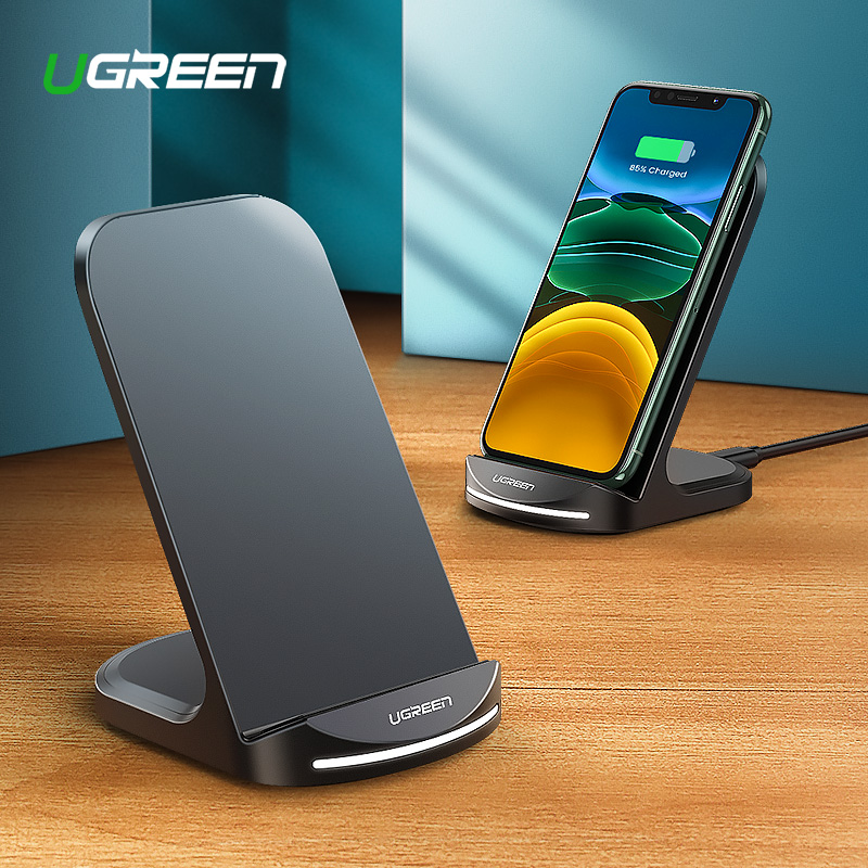 Ugreen Qi Wireless Charger Stand For IPhone 11 Pro Max X XS XR 8 8 Plus Wireless Charge For Samsung Galaxy S9 S10 S8 S10E Fast Wireless Charging Station For Huawei Mate 30 Pro Phone Wireless Charger