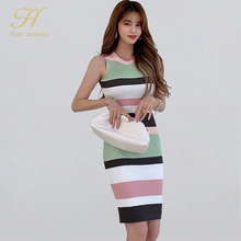 H Han Queen Elegant Occupation Sleeveless Knitted Dress Women Summer Stretch Striped Bodycon Dresses Wear To Work Pencil Vestido