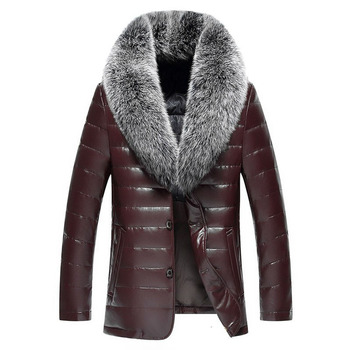 Winter New Big Real Fur Collar Veste Homme Cuir White Duck Down-padded Jaket Kulit Pria 12