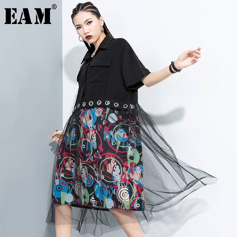 [EAM] Women Black Pattern Printed Mesh Big Size Shirt Dress New Lapel Half Sleeve Loose Fit Fashion Spring Summer 2020 1T294