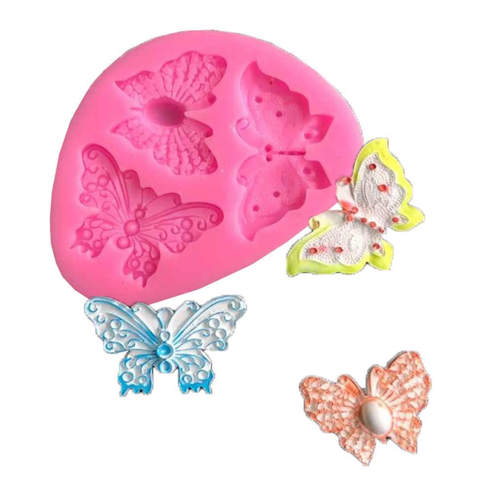 3D Butterfly Silikon Kue Cetakan DIY Jantung Bakeware Baking Dish Cokelat Kue Cetakan Es Batu Puding Membuat Nampan Kue Alat