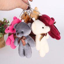 1pc mini boneca de pelúcia urso brinquedos pingente sijoined pp algodão macio recheado ursos nus brinquedo buquê boneca saco de presente do feriado pendurado