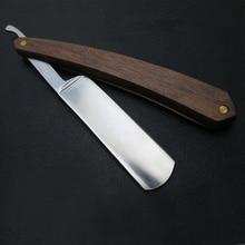 Men Shaving Straight Razor Natural Beech Wood Handle Carbon Steel Blade Manual Barber Shaver For hairdresser Custom Accept