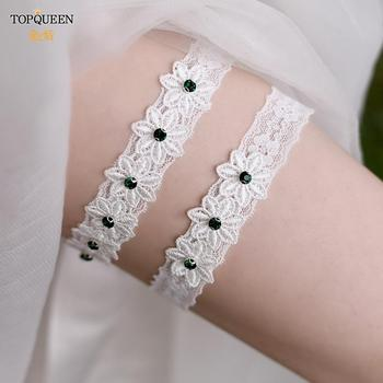 TOPQUEEN New Design Elastic Green Rhinestone Wedding Garter Belt Bridal Leg Garter Belt Handmade Bride Wedding Accessories TH34 luxury clear leaf design rhinestones beaded trim bridal wedding garter sets with white ribbon bow handmade