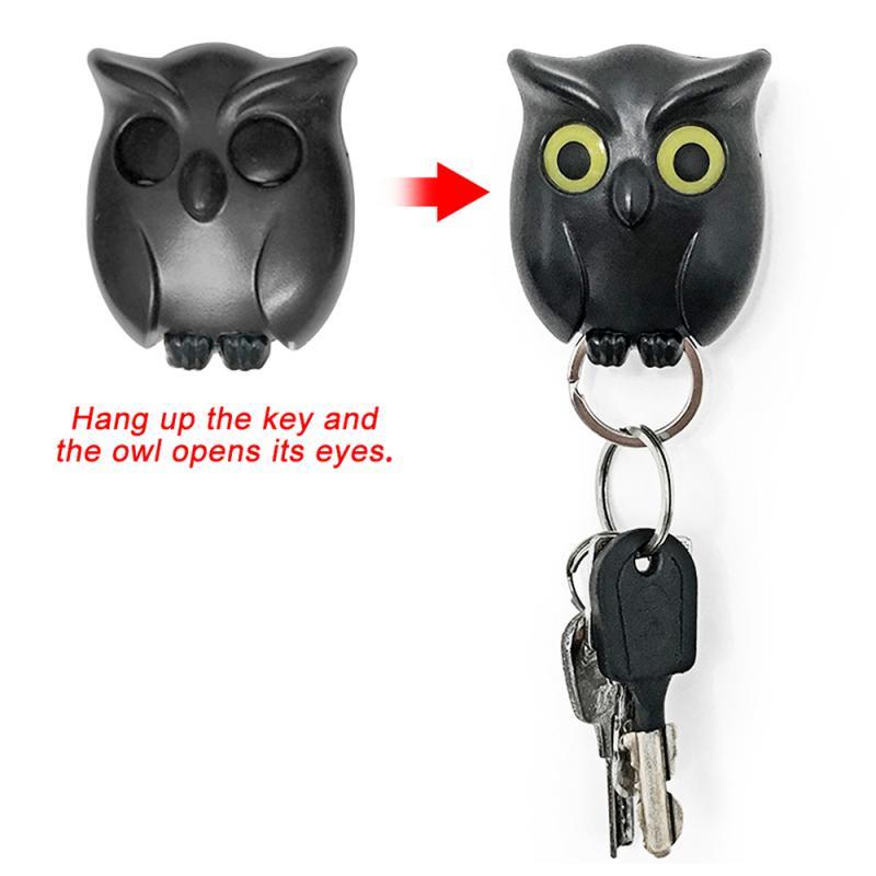 1PCS Black Night Owl Magnetic Wall Key Holder Magnets Keep Keychains Key Hanger Hook Hanging Key It Will Open Eyes