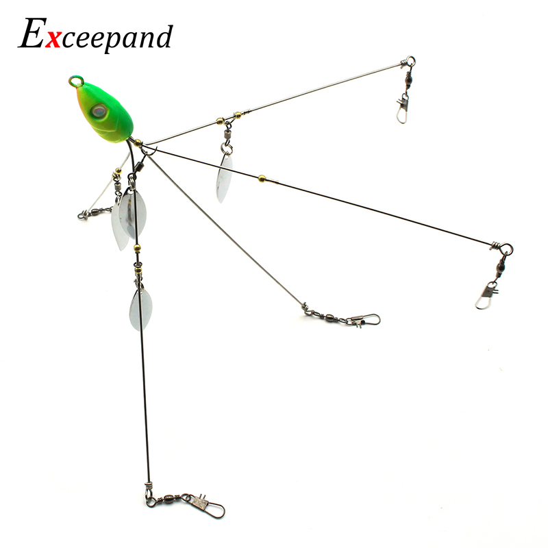 Umbrella Alabama Rig Lure Strong Wire 5 Arms 4 Blades Bass Crappie Bait HLT