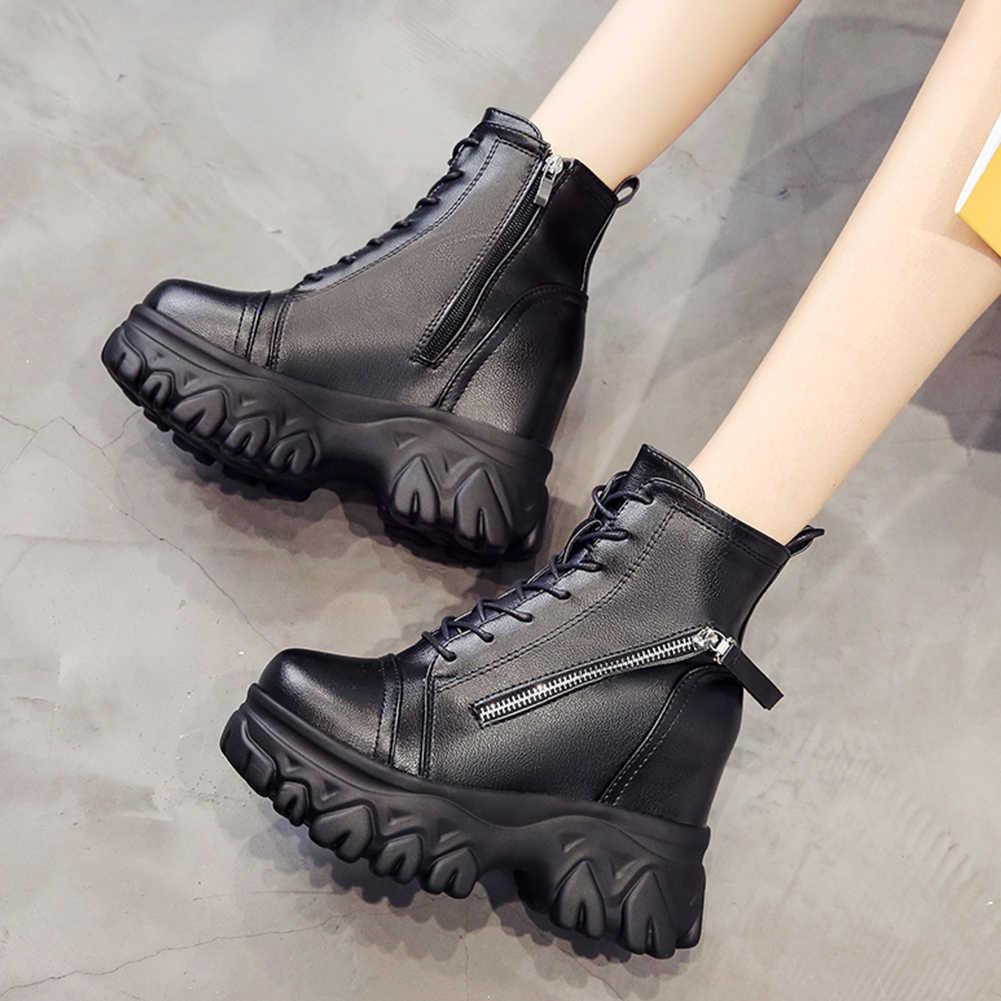 KARINLUNA bayanlar Lace Up yüksek topuklu çizmeler kadın 2019 yüksek Platform çizmeler moda yüksekliği artan ayak bileği ayakkabı kadın