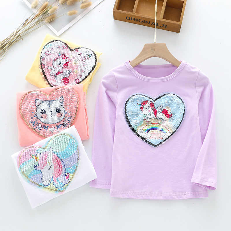 Long Sleeve Girl T-shirt Cartoon Unicorn Girl Shirts Sequined Kids Top Fashion Girls Clothing