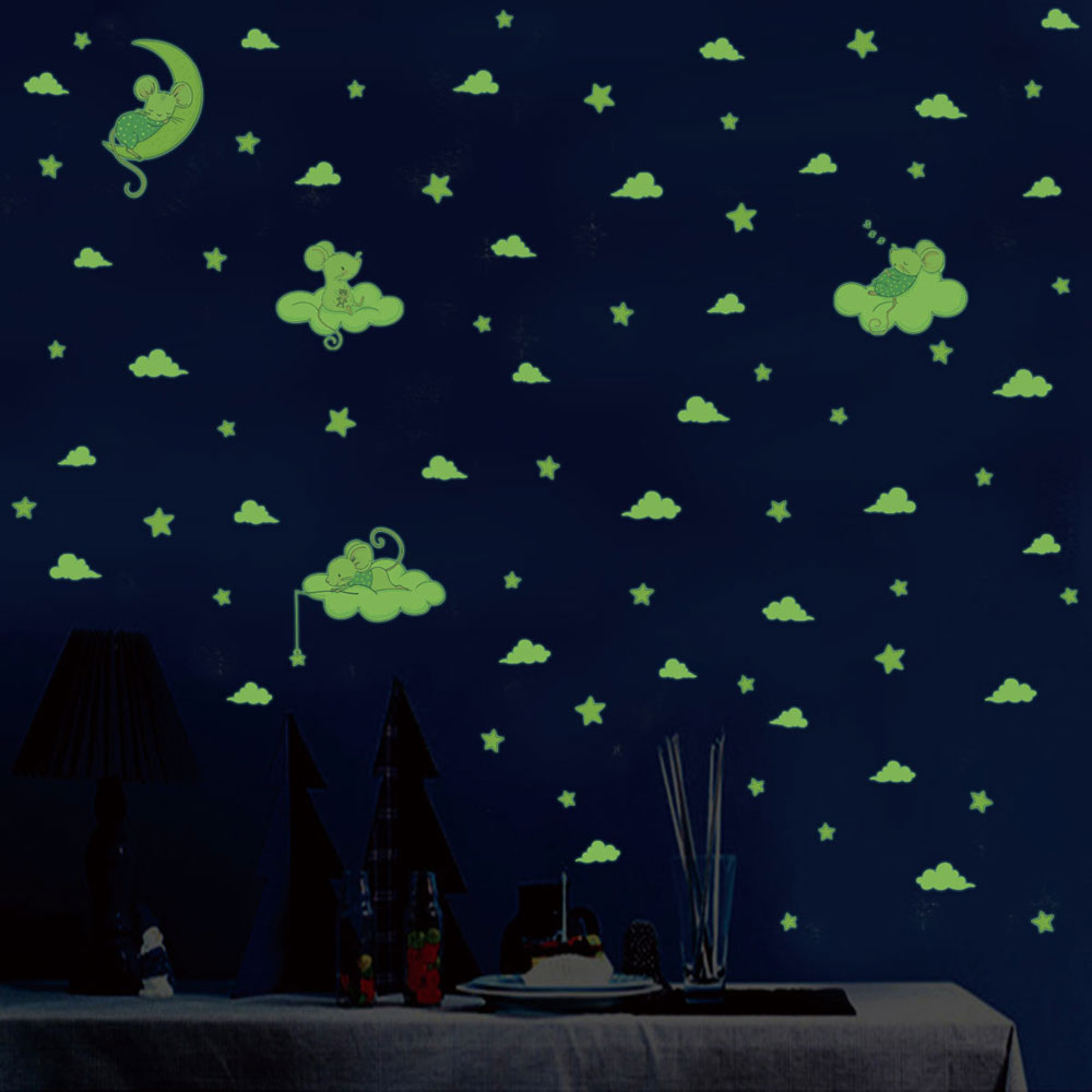 3pcs/set Cartoon Mouse Cat Luminous Wall Sticker Stars Moon Bedroom Home Decoration Mural Kids Room Glow In The Dark Stickers