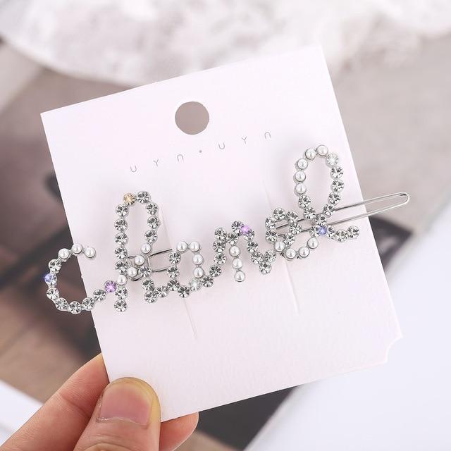 Accessoires de cheveux petites lettres parfumées perle strass frange boucle pince épingle à cheveux femelle pinces à cheveux épingles perles pinces à cheveux