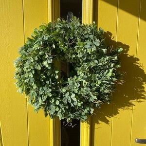 Image 4 - מלאכותי ירוק עלים זר 17.5 אינץ מול דלת זר פגז דשא תאשור זר קיר חלון המפלגה דקור