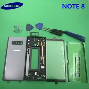 Image 2 - Note8 מלא שיכון Case חזרה כיסוי + מסך קדמי זכוכית עדשה + התיכון מסגרת לסמסונג גלקסי הערה 8 N950 n950F חלקים שלמים
