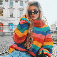 ALLNeon Turtlenecks Rainbow Sweaters Oversized Striped Knitwear Long Sleeve Jumper for Women 2019 Winter Warm Sweater Streetwear