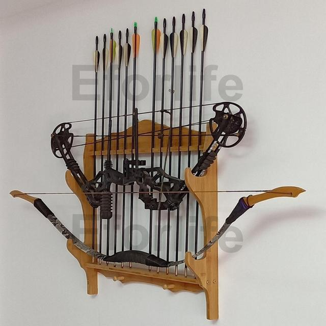bamboo 2 bow 12 arrow wall rack storage display holder bow arrow wall mount stand gun rack sword display holder