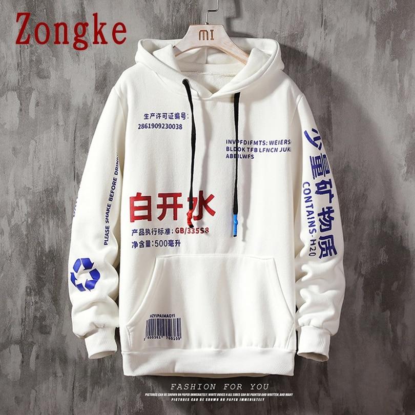 Zongke 2020 New Spring Chinese Lettering Hooded Hoodies Men Fashion Streetwear Casual Sweatshirt Men Hoodie Hip Hop M-5XL