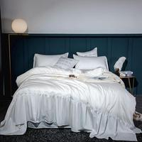 600TC Luxury egyptian cotton white Bedding Set Soft Queen King size Bed set Bed Sheet Wide edge Duvet Cover set bed linen
