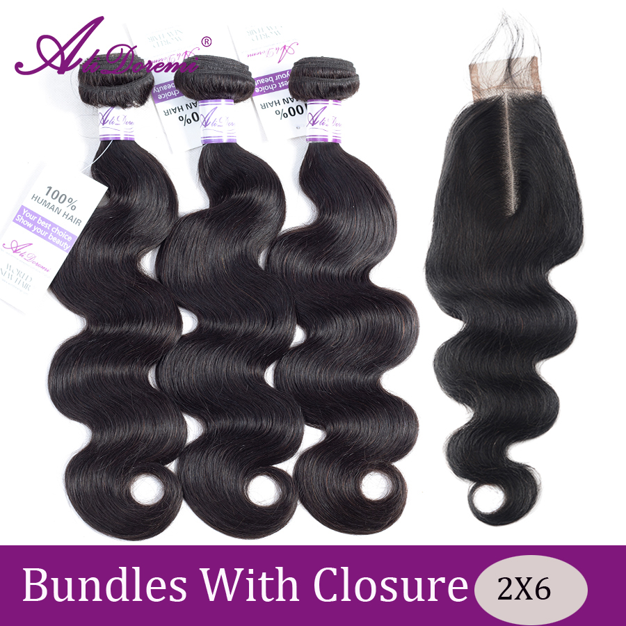 Alidoremi Brazilian Body Wave Bundles Remy Free Middle Three Part 2x6 Lace Closure Natural Color Human Hair Bundles