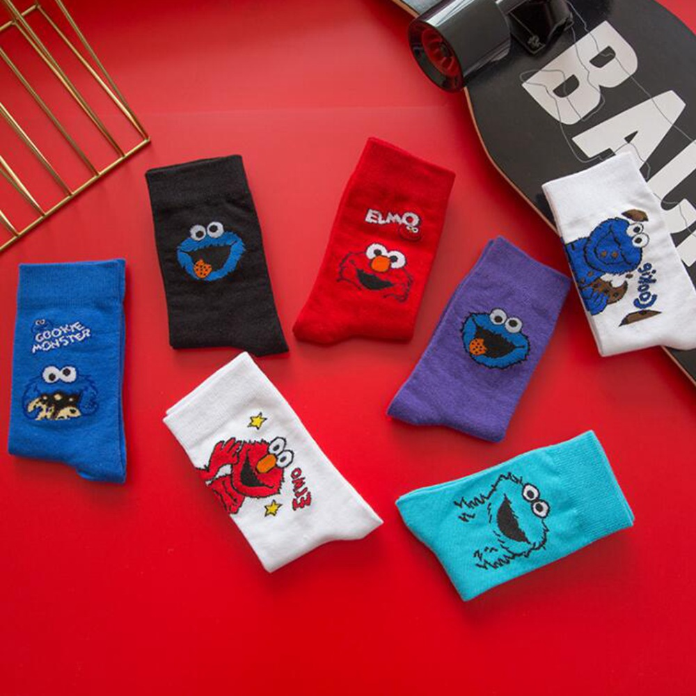 1 Pair Of Korean New Tube Leisure Socks Trend Couple Street Cartoon Funny High Tube Breathable Cotton Skate Socks