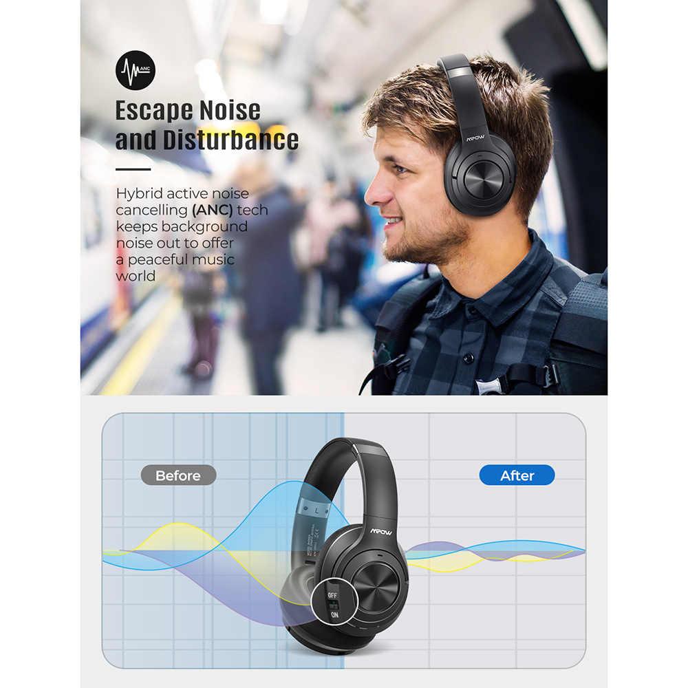 Mpow H21 หูฟังไร้สายบลูทูธ 5.0 หูฟังตัดเสียงรบกวน 40 ชั่วโมงCVC6.0 MIC Deep BASSสำหรับโทรศัพท์PC