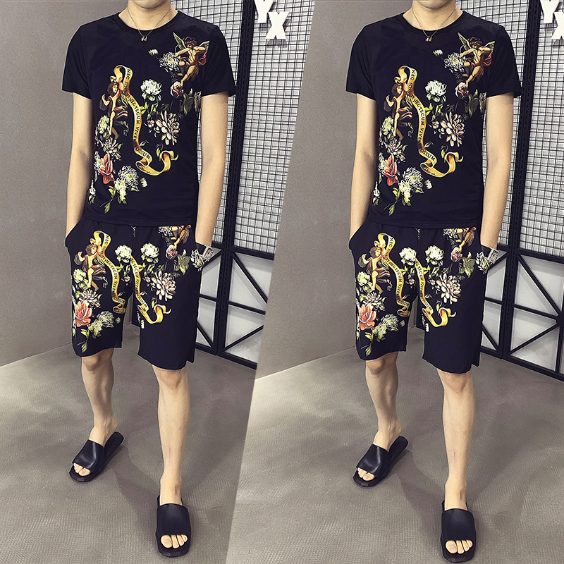 Men Track Suit 2020 New Stylish Summer Print Casual Slim T-shirt And Shorts Two-piece Jogger Men's Tracksuit