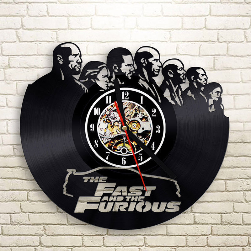 Vinyl Record Wall Clock Modern Design The Fast And The Furious Clocks Creative 3D Decorative Classic CD Wall Watch Home Decor
