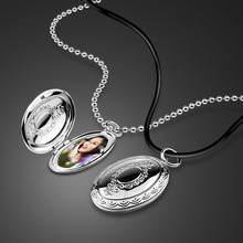 New creative DIY photo necklace.100% Solid 925 Silver Oval Photo Box Pendant Chain. Fashion sterling silver woman jewelry gift pendant polar bear 2017 new fashion glam 925 silver jewelry thomas style sterling necklace cute gift for ts soul woman