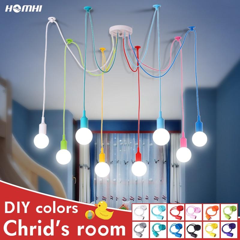 Люстра детская потолочная Скандинавская детская декоративная цветная e27 Современная подвесная потолочная лампа силиконовая светодиодная люстра Паук гостиная