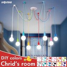 Lustre de teto do berçário nordic deco da criança cor e27 lâmpadas teto pingente moderno silicone led lustre aranha sala estar