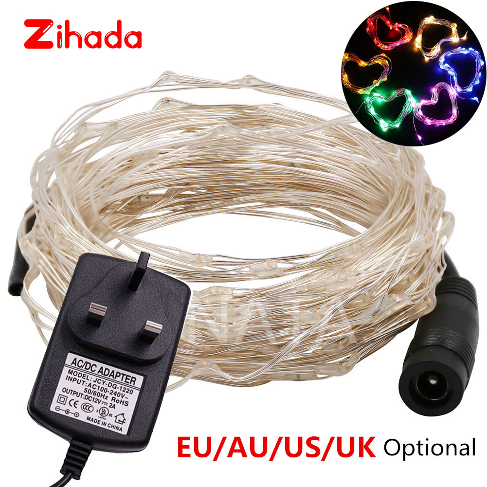 DC12V Micro Rice Wire Silver Fairy String Lights Xmas Garland Light Lamp For Christmas Party Wedding Decoration Ourdoor 10m 20m