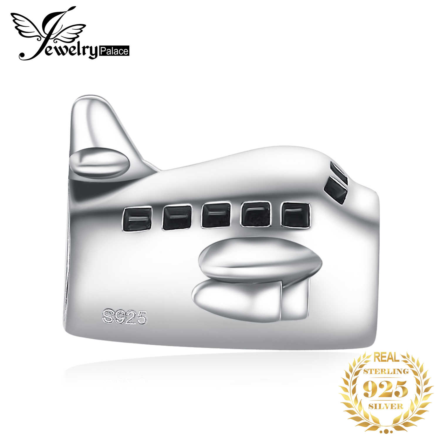 JewelryPalace Airplane 925 Sterling Silver Beads Charms Silver 925 Original For Bracelet Silver 925 original Bead Jewelry Making