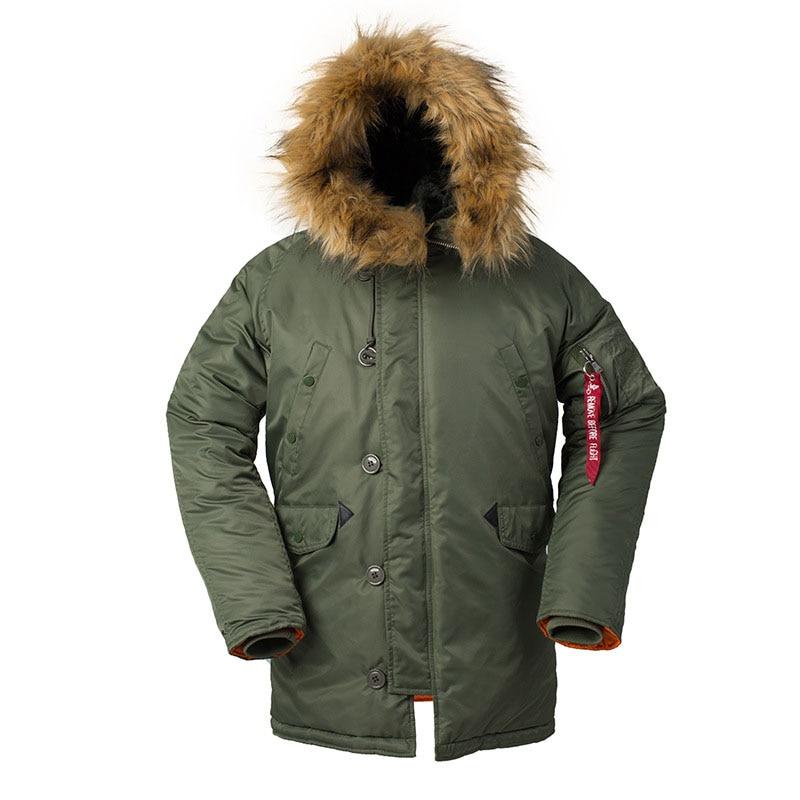 KIOVNO Männer Winter Warme Bomber Jacken Mit Pelz Kragen Military Thermische Kapuze Lange Jacken Outwear Für Männlichen Parkas Multi Taschen