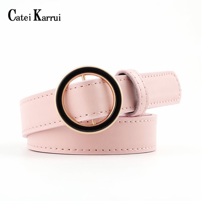 Catei Karru 2020 NEW Cow Skin Strap Female Girdle For Jeans Fashion Round Ring Buckle Belt Woman Genuine Leather Belts For Women