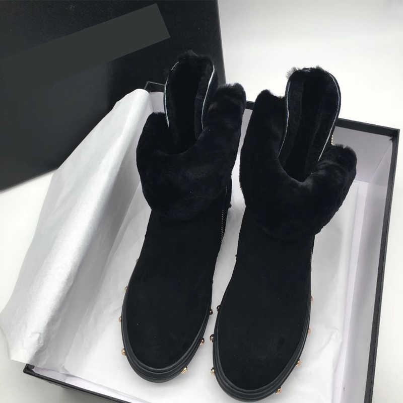 Hakiki deri marka trend yuvarlak ayak düz platformu sıcak tutmak kürk dekorasyon soğuk koruma tatlı kız kar botları