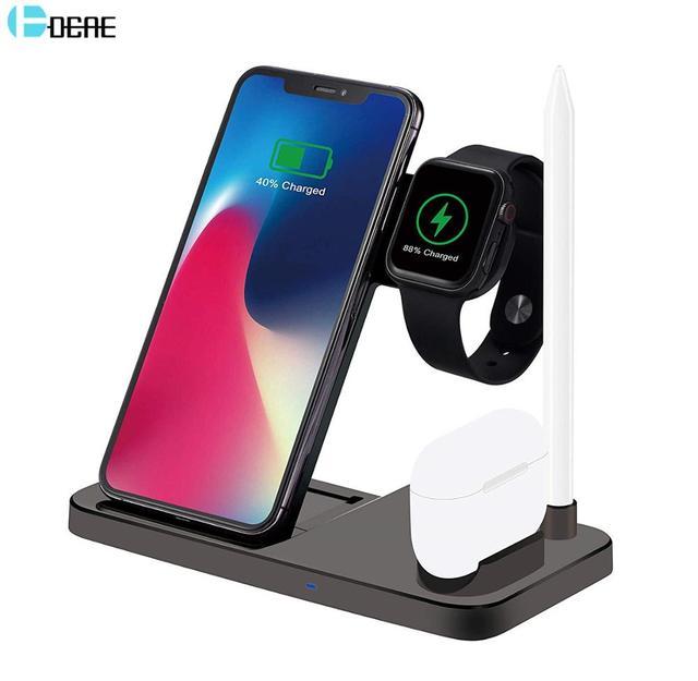 Беспроводное зарядное устройство DCAE для Apple Watch 5 4 3 Airpods Pro 4 в 1 QI 10 Вт, подставка для быстрой зарядки для iPhone 11 XS XR X 8 Samsung S10 S9