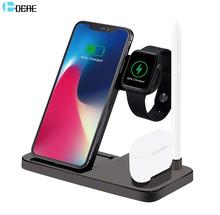 DCAE Wireless Charger For Apple Watch 5 4 3 Airpods Pro 4 in 1 QI 10W Fast Charging Stand for iPhone 11 XS XR X 8 Samsung S10 S9