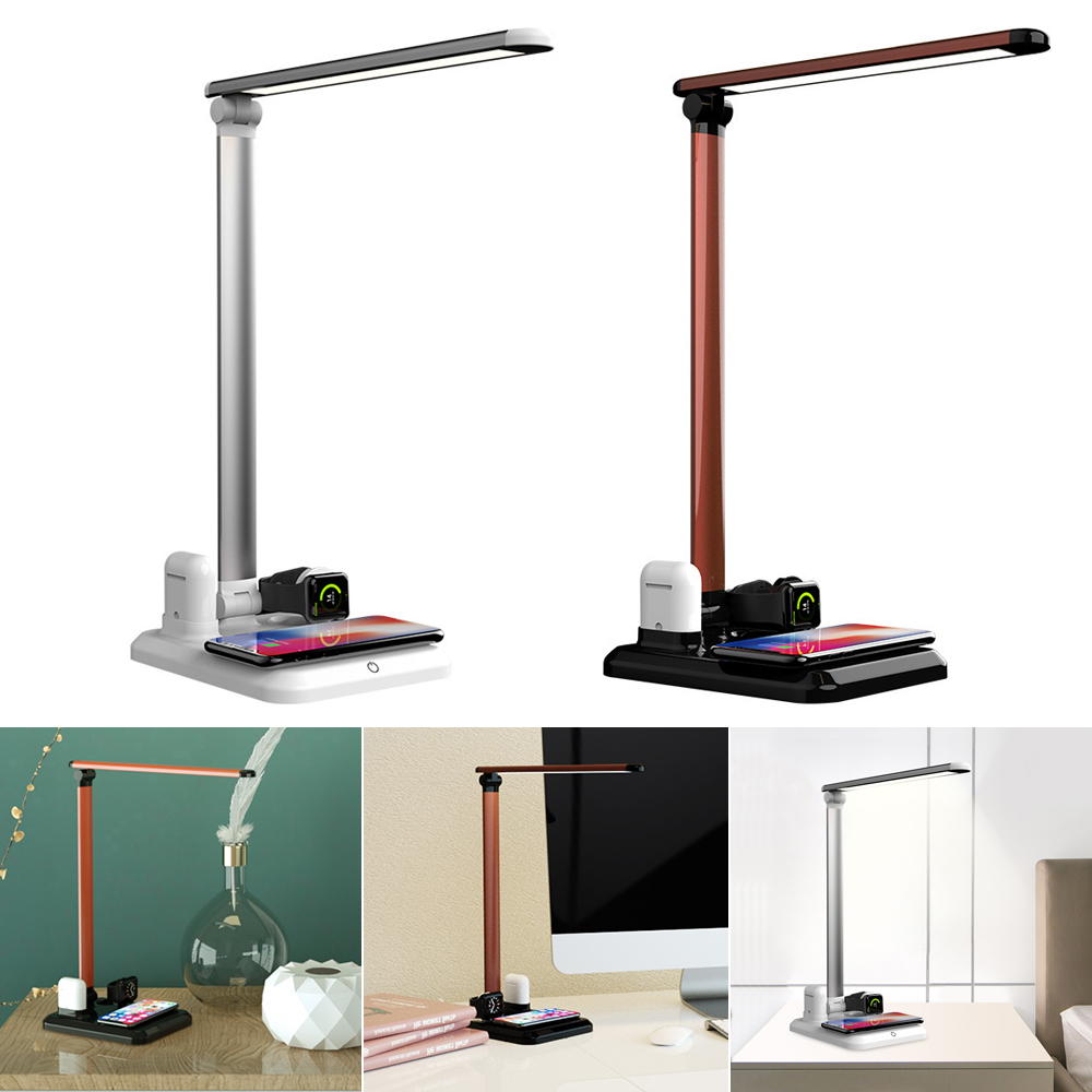 New LED Table Lamp 4 In 1 <font><b>Qi</b></font> Wireless Charger Reading Desk Light Eye Protection Dimmer For Mobile Phone <font><b>Watch</b></font> Earphone Charging image