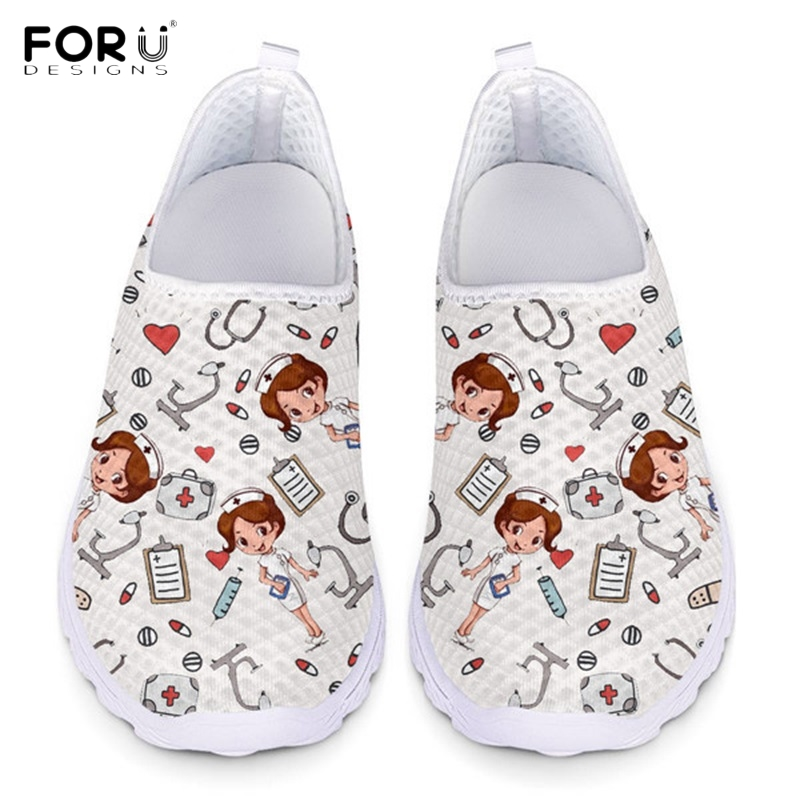 FORUDESIGNS Cute Cartoon Nurse Pattern Women Slip On Sneakers Breathable Comfortable Lady Summer Flats Shoes Casual Nursing Shoe