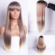 MISS WIG Ombre Blue Green Straight Long Synthetic Wigs For Women Black Pink Wigs 24 inch can be Cosplay Wigs Heat Resistant miss peregrine s home for peculiar children miss perry green cosplay wig eva green black short curly hair wigs