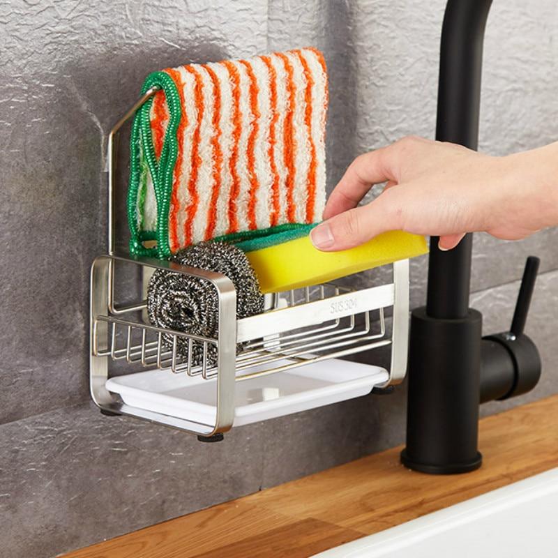 Kitchen Punch-free Sink Disposable Arrangement Sponge Drain Rack Faucet Storage Basin Dishcloth Hanging Basket  LB81918
