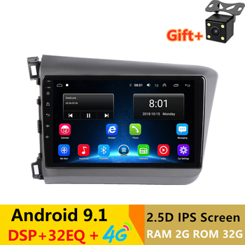 "9"" 2.5D IPS Android 9.1 Car DVD Multimedia Player GPS For Honda Civic 2010 2011 2012 2013 2014 radio DSP 32EQ stereo navigation"