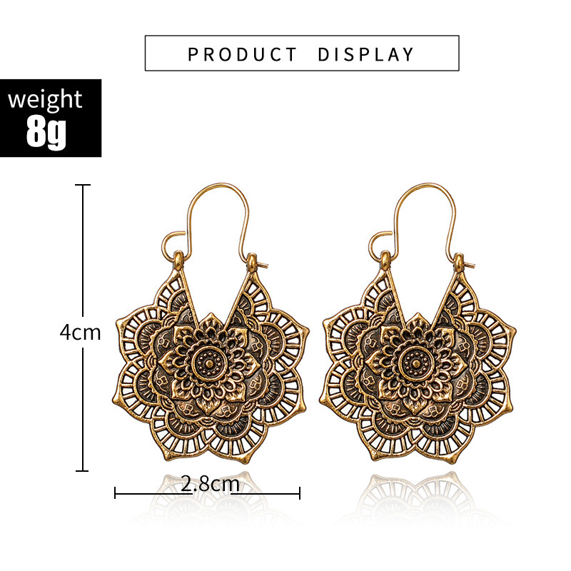 H8687f2f12d724f2cb226582275d9d895y - HuaTang Vintage Gold Silver Color Metal Dangle Hollow Earrings for Women Geometric Carved Ethnic Earring Indian Jewellery brinco