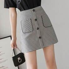 Осенне зимняя клетчатая Женская юбка с карманами винтажная Офисная