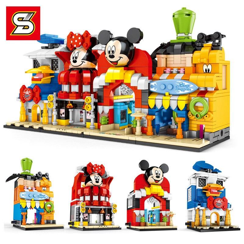 234 pçs blocos de construção diy montagem tijolos brinquedos para crianças presentes natal brinquedo educativo dos desenhos animados pequena loja rua brinquedos