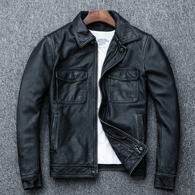 Genuine Cow Leather Jacket Men Plus Size Cowhide Leather Coat Short Bomber Jacket Veste Cuir Homme Vintage KJ1913
