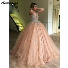 Ball-Gown Prom-Dress Evening-Dresses Sexy Kaftan Champagne Beading Tulle Islamic-Dubai