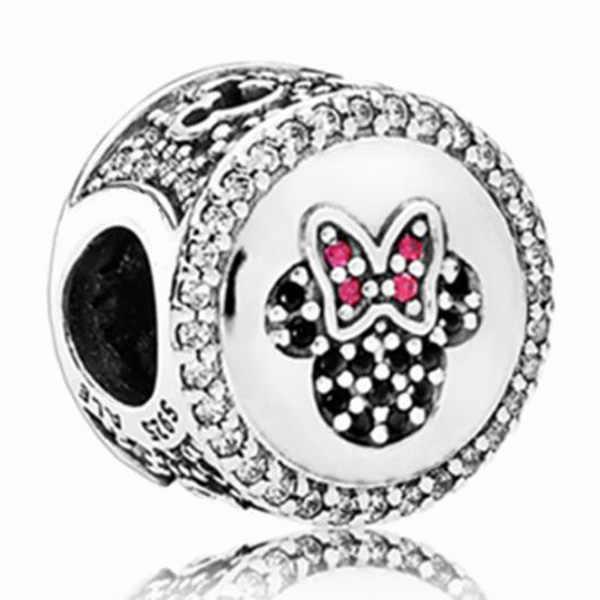 Nova Moda de Cristal Pata de Urso Flor Seta Coração Minnie Contas Fit Pandora Encantos Pulseiras para As Mulheres Presente DIY Jóias Bugiganga