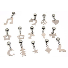 10pcs Stainless Steel Cross Crown Heart Charm Beads for DIY Pendant Pinch Clips Bails fit 3 4 5mm Cord Bracelet Jewelry Making