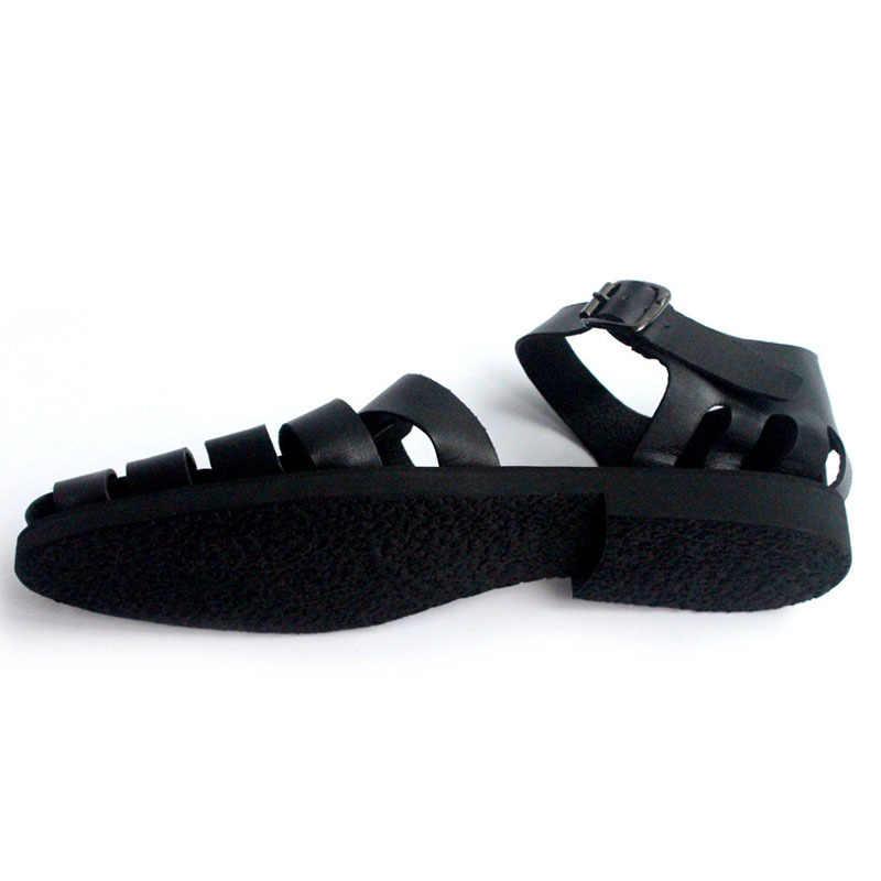 Włoski klasyczny mężczyzna lato Gladiator plaża sandały klamra na kostce splot drążą krowy buty z prawdziwej skóry duże rozmiary obuwie