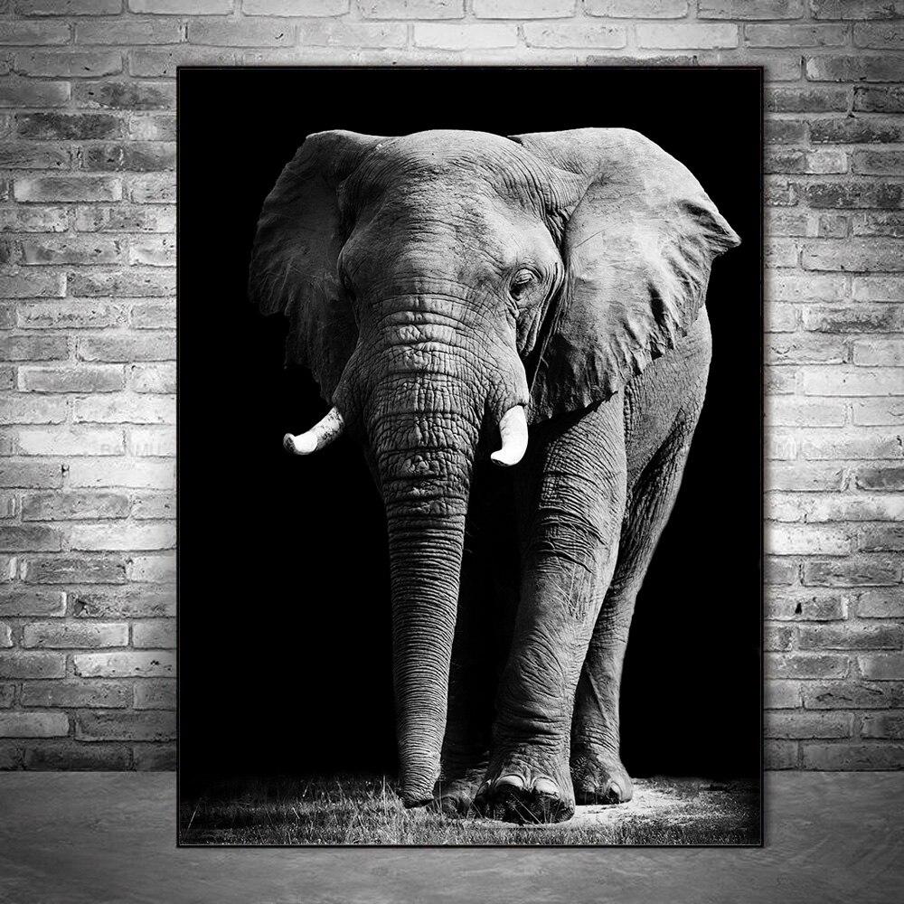 Afrikanische Elefanten Wand Kunst Leinwand Gemälde Schwarz Und Weiß Tiere Wand Poster Und Drucke Wand Bilder Für Wohnzimmer Cuadros