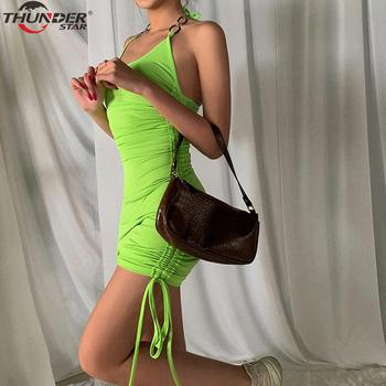 Summer Club Vacation Birthday Party Camis Dress Women Sexy 2020 Spring Fashion Solid Color Skinny Kawaii Mini Wrap Dress 4
